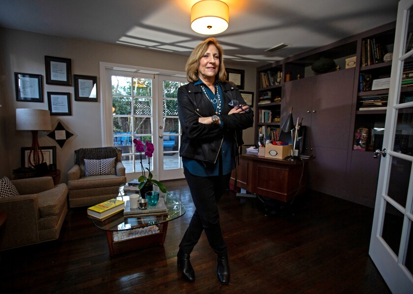 "Lesli Linka Glatter, executive producer and director of ""Homeland,"" is surrounded by career reminders in the office of her Pacific Palisades home."