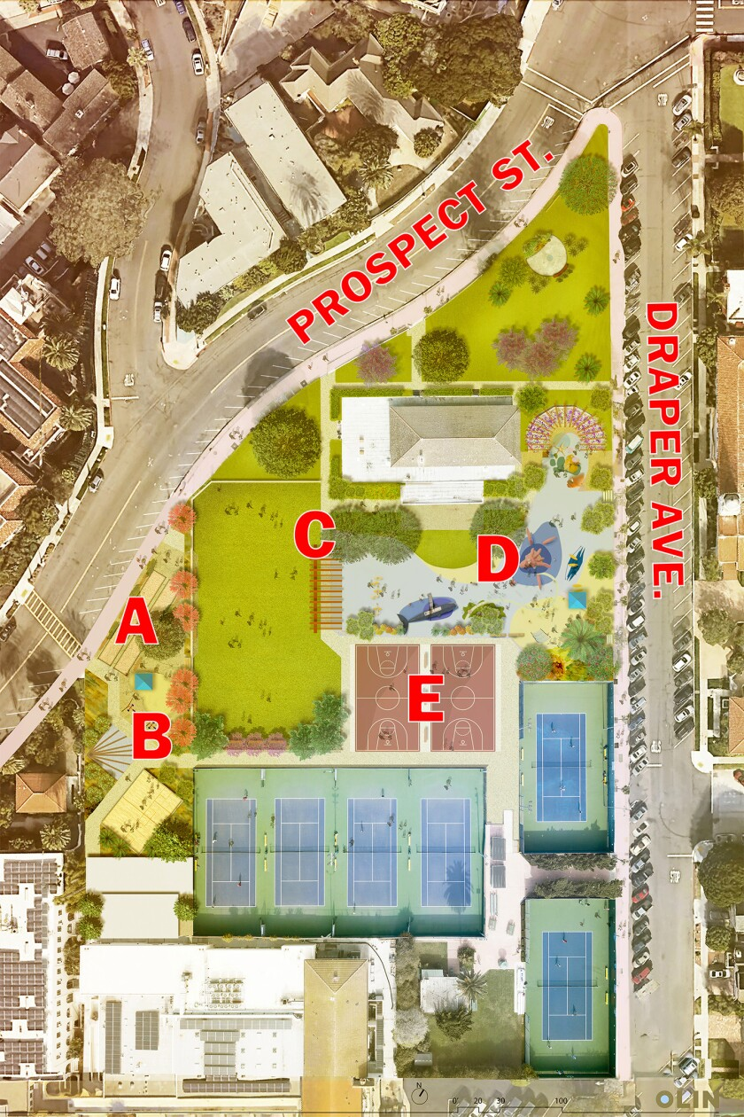 The preliminary proposed site plan for the La Jolla Recreation Center, as announced in February.