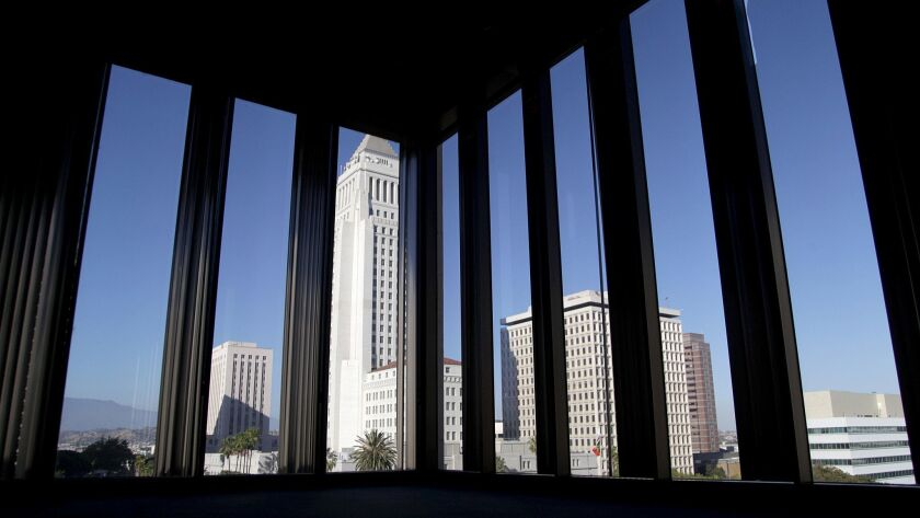 **For Carolina Maranda story on the Los Angeles Times Building.** View of City Hall fro the Chandle