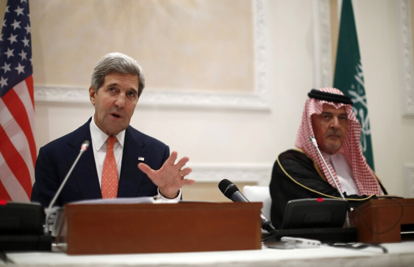 U.S. Secretary of State John F. Kerry's visit to Saudi Arabia was intended to ease strains between the longtime allies over Syria, Iran and Egypt. Although both Kerry and Saudi Foreign Minister Prince Saud al Faisal, right, praised their longtime ties at a joint news conference on Monday, it was clear that issues continue to divide them.