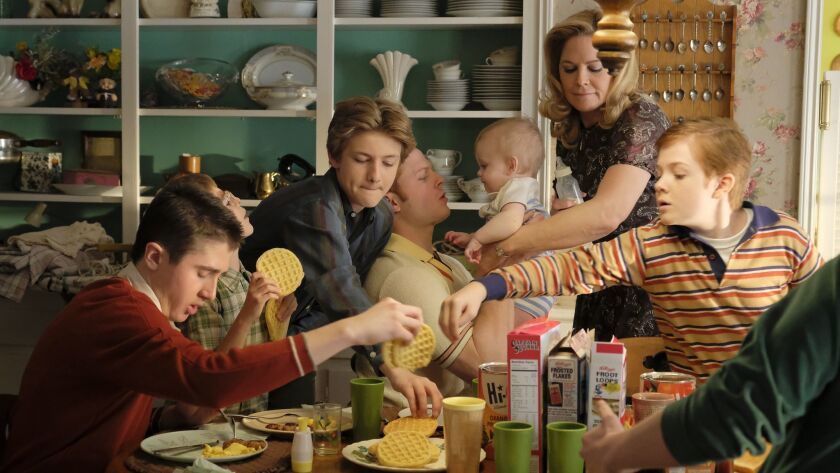 "In ""The Kids Are Alright,"" from left, Sawyer Barth, Santino Barnard, Christopher Paul Richards, Caleb Foot, Mary McCormack and Jack Gore play members of an Irish American family."