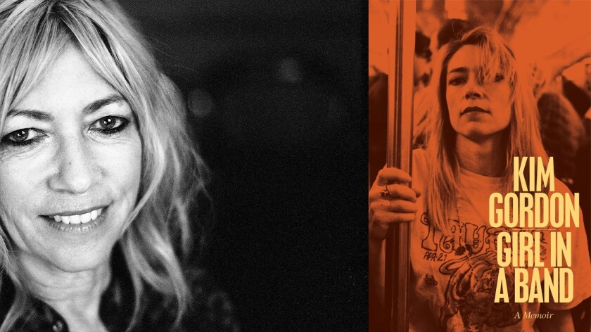 """Author Kim Gordon and the cover of the book """"Girl in a Band"""""""