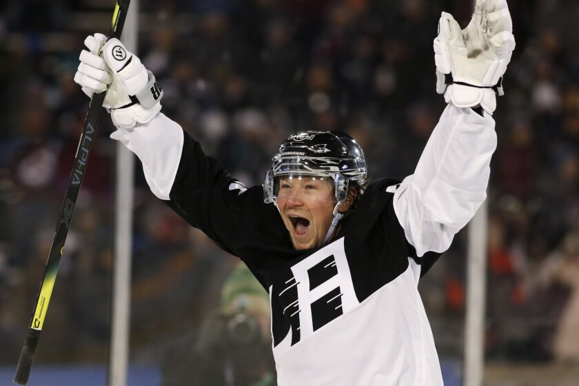Kings forward Tyler Toffoli celebrates after scoring against the Colorado Avalanche.