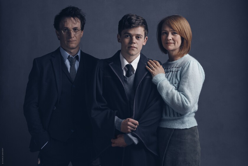 "Harry Potter (Jamie Parker, left), Albus Potter (Sam Clemmett) and Ginny Potter (Poppy Miller) from the upcoming play ""Harry Potter and the Cursed Child."""