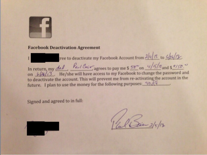 Dad gives daughter $200 to stay off Facebook for five months