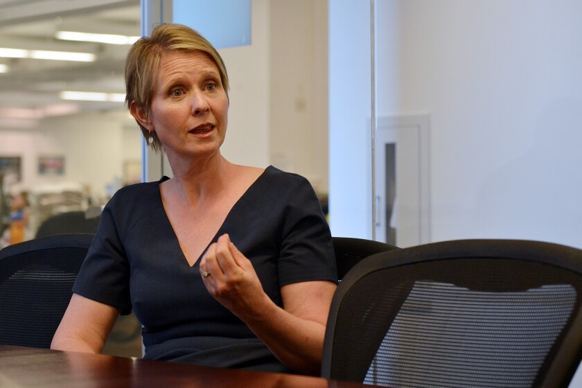 New York State gubernatorial candidate Cynthia Nixon meets with the New York Daily News editorial board on Wednesday, September 5, 2018.