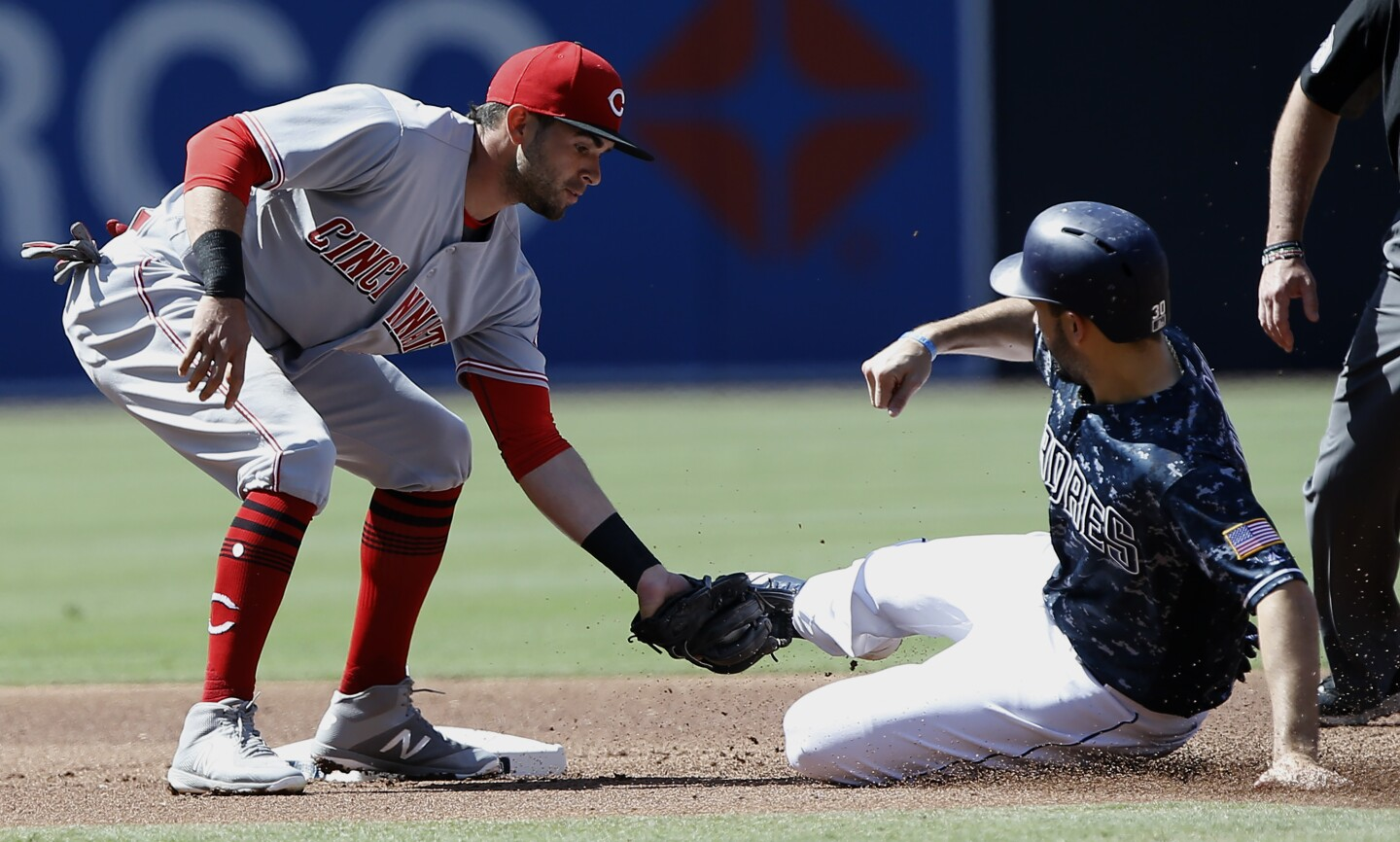 Cincinnati Reds shortstop Jose Peraza, left, tags out San Diego Padres' Eric Hosmer on a steal-attempt during the first inning of a baseball game in San Diego, Sunday, June 3, 2018. (AP Photo/Alex Gallardo)