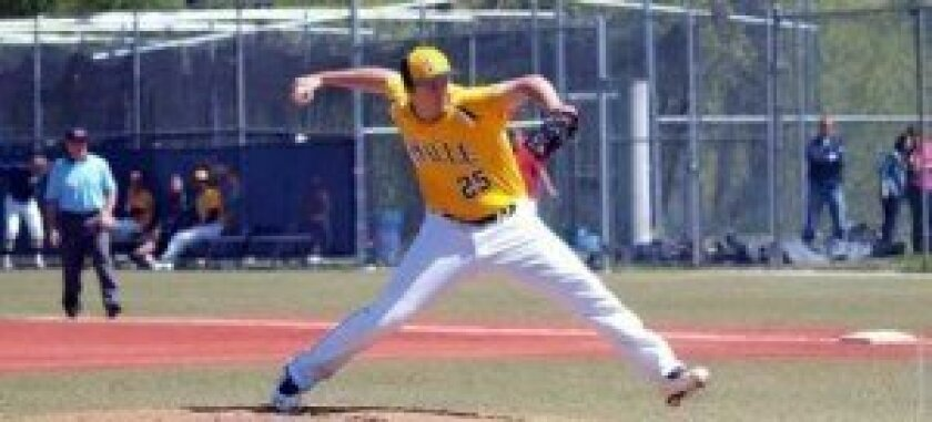 Patrick christensen, a 2009 graduate of La Jolla High where he set records pitching for the Vikings, went on to play for La Salle University in Philadelphia. Here he is pitching for their team, the Explorers.