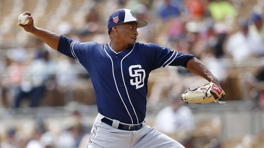 Padres pitcher Luis Perdomo throws against the Chicago White Sox in a spring training game Wednesday.