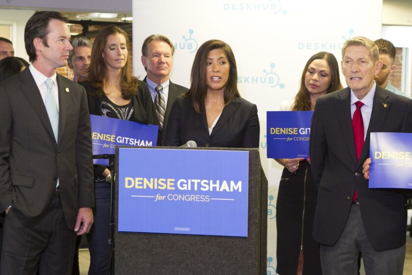 Since announcing her candidacy in November, small business owner Denise Gitsham has raised more money than the other Republican candidates trying to unseat Rep. Scott Peters, D-San Diego, in the House of Representatives.