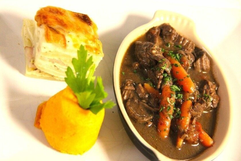 Le Petit Bistrot's classic, French Beef Bourguignon.