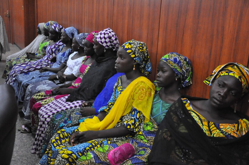 Some of the Nigerian girls who escaped their kidnappers attend a meeting with the Borno state governor in Maiduguri on June 2.