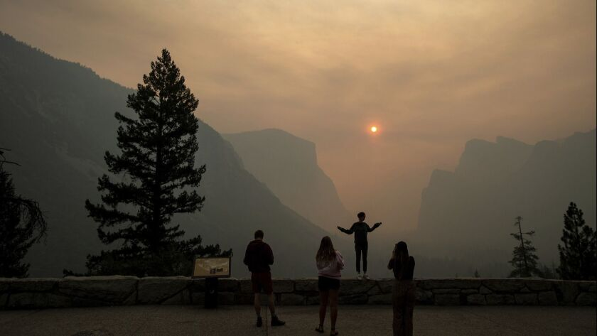Smoke from the Ferguson fire fills Yosemite Valley in late July. The fire has made the air quality worse than in Beijing.