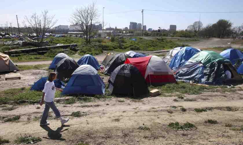 A homeless encampment in Sacramento.