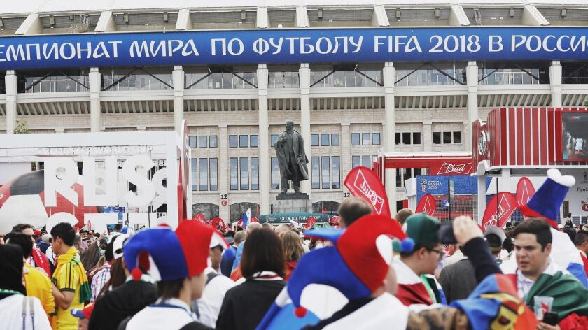 The Lenin statue outisde the Luzhniki stadium as fans arrive for the FIFA World Cup 2018 group A preliminary round soccer match between Russia and Saudi Arabia on Thursday in Moscow.