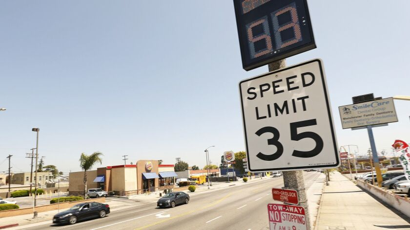 LOS ANGELES, CA - APRIL 23, 2019 - Speed feedback signs have been installed on a 1-mile stretch of