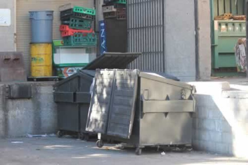 Dumpsters behind Jonathan's market on Fay Avenue in La Jolla were left unlocked throughout much of December. Pat Sherman