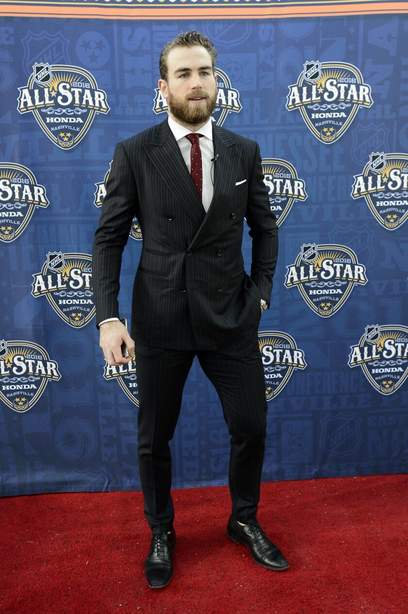 This Jan. 30, 2016 photo shows Buffalo Sabres forward Ryan O'Reilly arriving at the NHL hockey All-Star game skills competition in Nashville, Tenn. The agent for Ryan O'Reilly confirmed that charges against the Buffalo Sabres forward have been dropped stemming from an impaired driving incident last