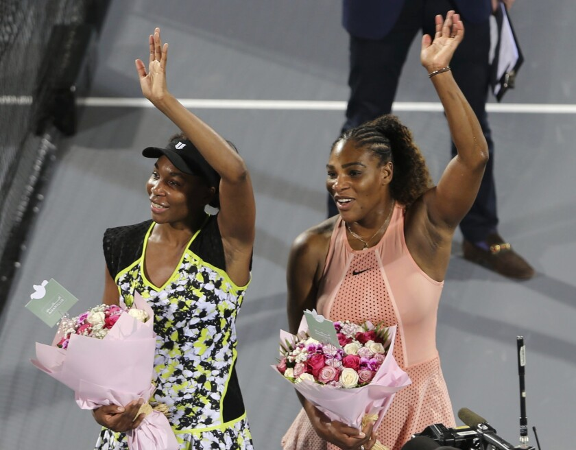 Virus Outbreak Serena and Venus Tennis