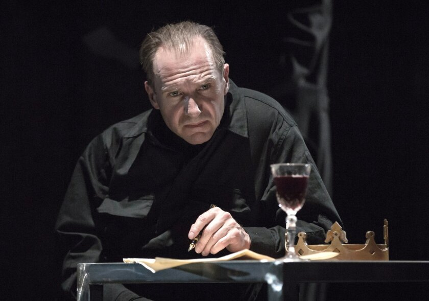 This is an undated image of British actor Ralph Fiennes as Richard III made available by the Almeida Theatre in London on Wednesday July 20, 2016. World events give a powerful resonance to Ralph Fiennes' performance as  Richard III the ruthless ruler, determined to eliminate all rivals, in a Rupert