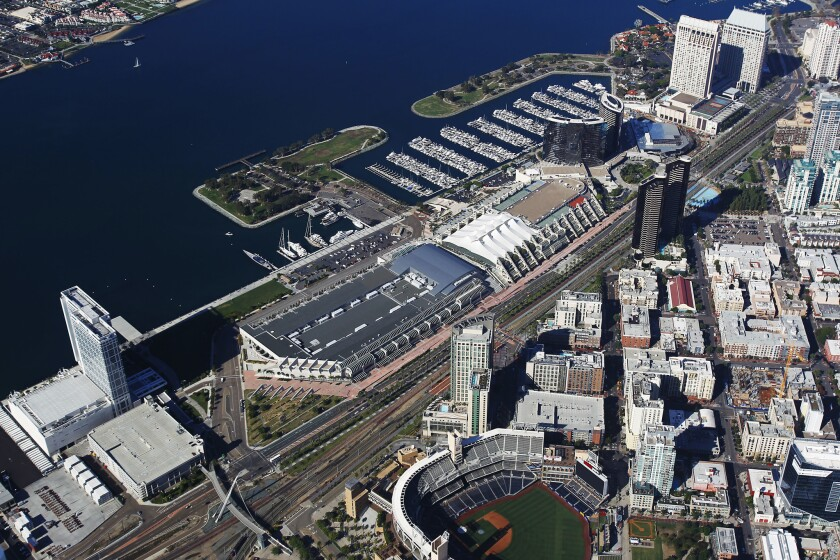 The San Diego Convention Center is flanked by the Marriott, Manchester Grand Hyatt and Bayfront Hilton.