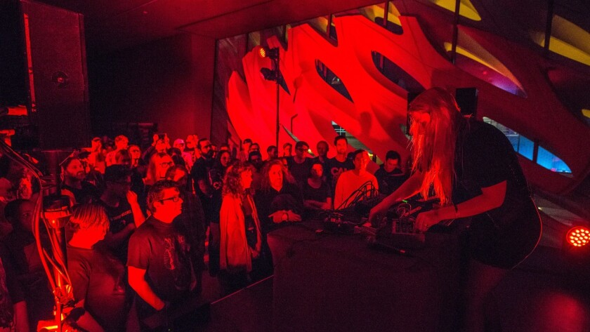 Pharmakon performs at The Broad on July 28, 2018 in Los Angeles, California.
