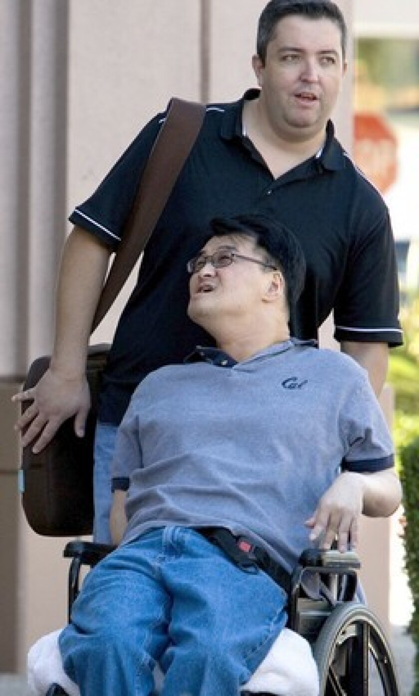 Matthew Kim, who has cerebral palsy, was barred from the classroom over alleged harassment.