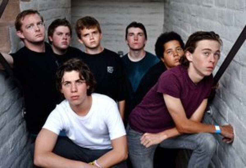 Front Row from left: Gabe Krut (Ponyboy) and Geoff Geissinger (Johnny). Back Row from left: Brian Mackey (Dallas), Noah Yatsko (Darry), Tanner Erdem (Jerry, Ponyboy understudy), Phillip Magin (Sodapop), and Creston Brown (Two-Bit)