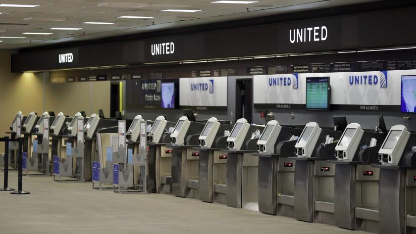 Empty United Airlines ticket machines