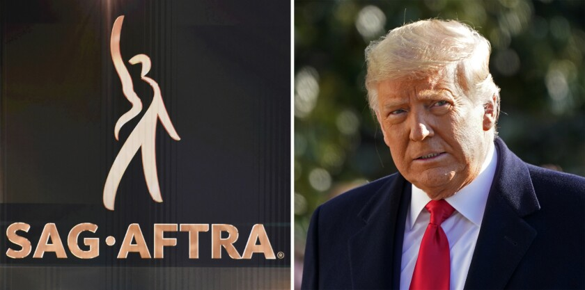 In this combination photo, the SAG-AFTRA logo appears on screen at the 26th annual Screen Actors Guild Awards on Jan. 19, 2020, in Los Angeles and President Donald Trump walks to board Marine One on the South Lawn of the White House on Jan. 12, 2021, in Washington. The Screen Actors Guild said Tuesday, Jan 19, 2021, that the SAG-AFTRA board voted overwhelmingly that there is probable cause that Trump violated its guidelines for membership. If found guilty by a disciplinary committee, Trump faces expulsion. (AP Photo)