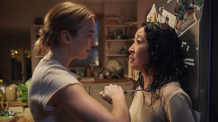 """Villanelle (Jodie Comer) and Eve (Sandra Oh) in a scene from """"Killing Eve."""" Credit: BBC AMERICA"""