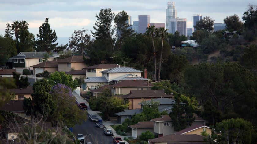 LOS ANGELES CA. MAY 24, 2016: Canyon views and a view of downtown is on your left, as you head up th