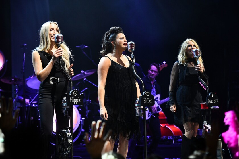 Miranda Lambert (far right) is shown performing with fellow Pistol Annies' members Ashley Monroe (left) and Angaleena Presley (center) in late 2018 in Los Angeles.