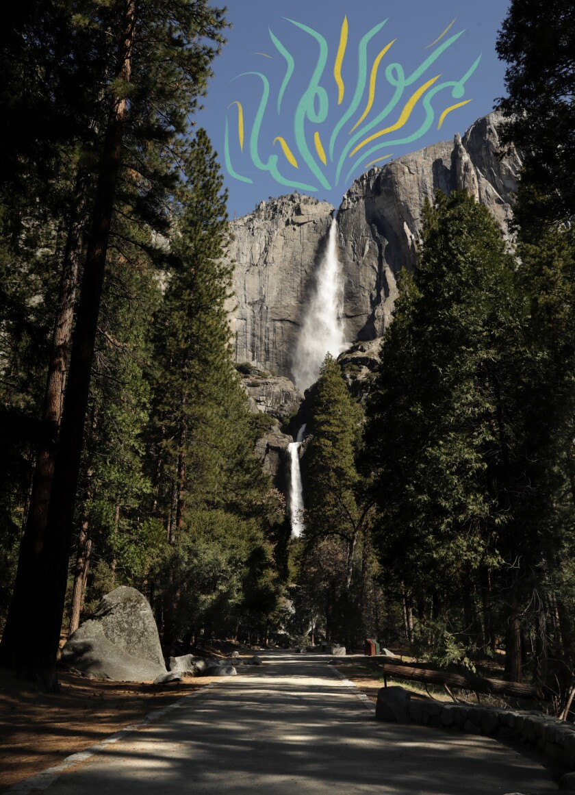 Yosemite Falls seen without people due to the park closure on April 11, 2020.