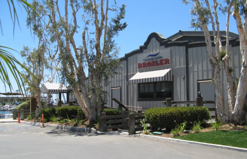 The exterior of Oceanside Broiler restaurant, which opens Thursday at Oceanside Harbor. CREDIT: Pam Kragen/ U-T