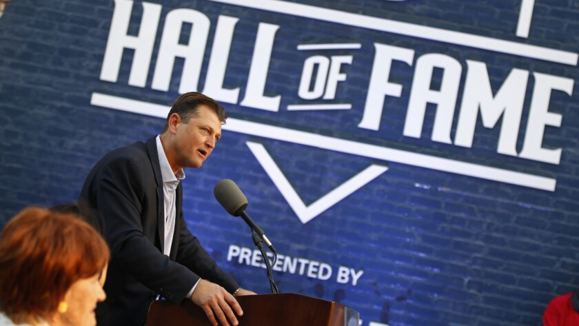 Trevor Hoffman speaks at news conference after he was elected to the National Baseball Hall of Fame, Jan. 24, 2018 at Petco Park.
