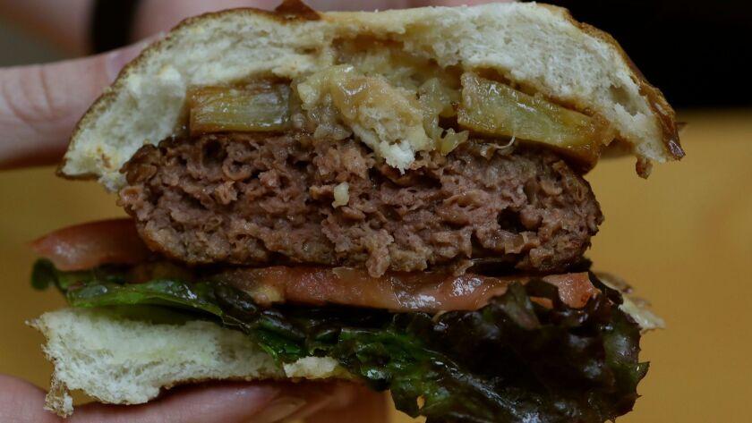 EL SEGUNDO CA, TUESDAY, JANUARY 30, 2018 - A Beyond Meat hamburger patty. (Robert Gauthier/Los Ange
