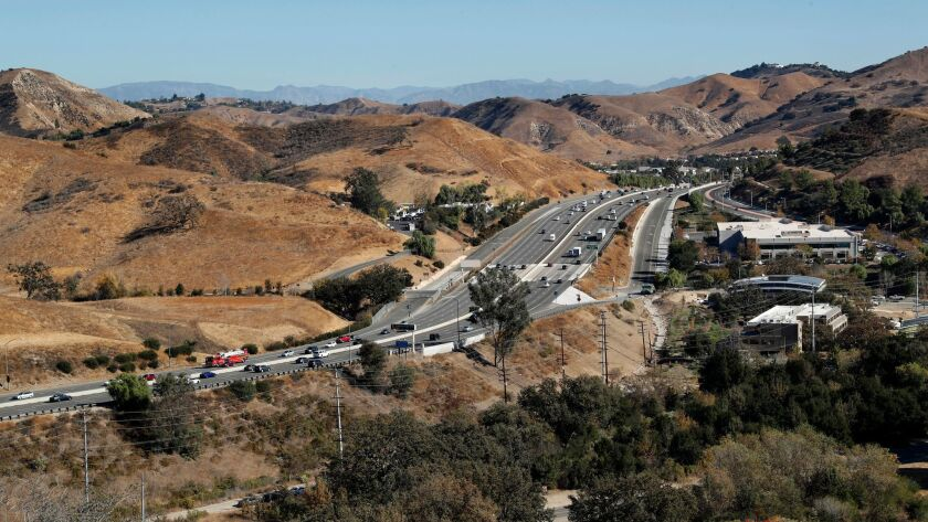 The 101 freeway near the Liberty Canyon exit in Agoura, the site of a proposed wildlife overcrossing, on Dec. 14, 2017.