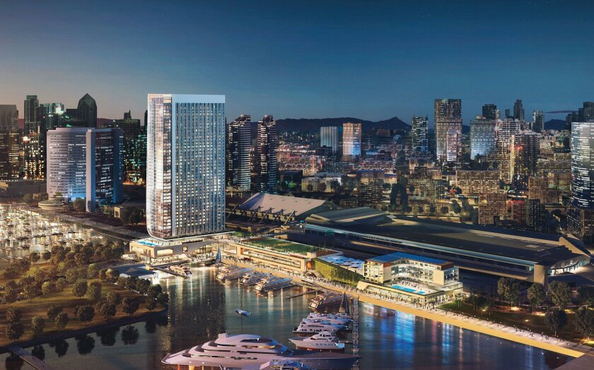 The proposed waterfront hotel , seen in an artist rendering, would sit on a six-acre site on the bay side of the San Diego convention center, and include a rooftop garden plaza.