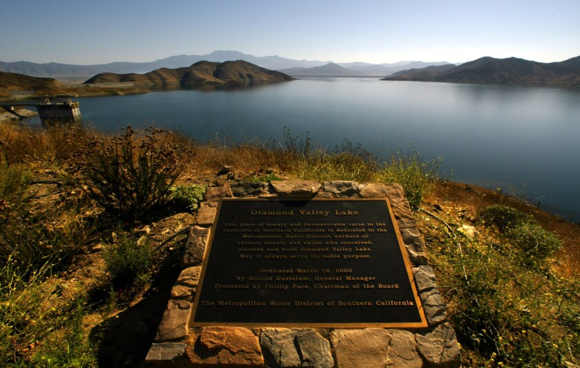 A view of Diamond Valley Lake, which opened in 2003 and is helping Southern California weather the drought.