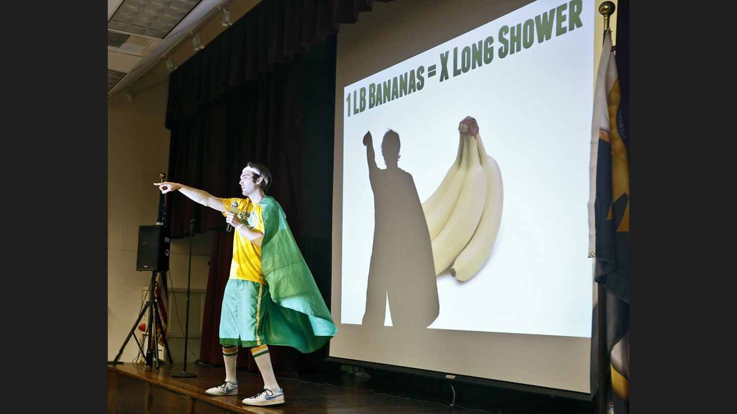 Walt Disney Elementary in Burbank held an assembly with the Eco rapper to teach students about the environment on Tuesday. The rapper, who has visited five countries and hundreds of schools teaching about the environment, sang and danced alongside students and teachers.