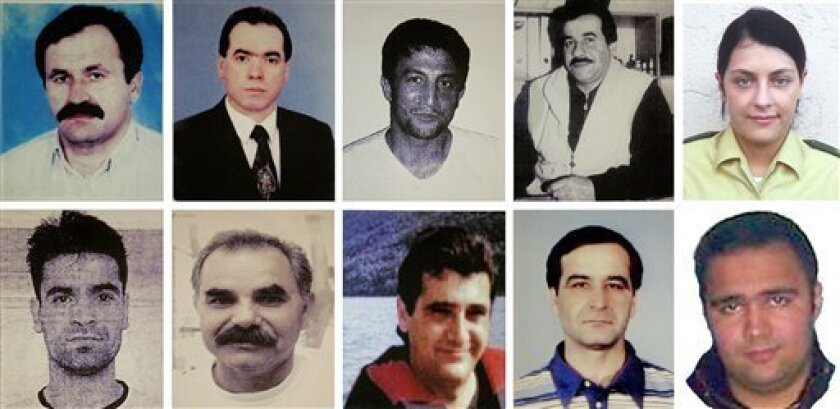FILE - This combination image of handout pictures released by the federal criminal Police Office ( BKA) shows undated file photos of victims of the far right terror group NSU . top from left: Enver Simsek, Abdurrahim Ozudogru, Suleyman Taskopru, Habil Kilic and police woman Michele Kiesewetter and bottom from left : Mehmet Turgut, Ismail Yasar, Theodorus Boulgarides, Mehmet Kubasik und Halit Yozgat. Beate Zschaepe is alleged to be the last surviving member of the self-styled National Social