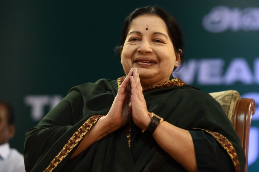 Jayaram Jayalalithaa in May at a swearing-in ceremony.