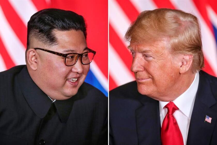 (COMPOSITE) North Korean leader Kim Jong-un (L) and US President Donald J. Trump (R) react during their first one-on-one meeting, part of the historic summit, at the Capella Hotel on Sentosa Island, Singapore, 12 June 2018 . A second summit is planned for US President Donald J. Trump and North Korean leader Kim Jong-un in Hanoi, Vietnam from 27 to 28 February 2019. EPA-EFE/FILE/KEVIN LIM / THE STRAITS TIMES / SINGAPORE OUT EDITORIAL USE ONLY