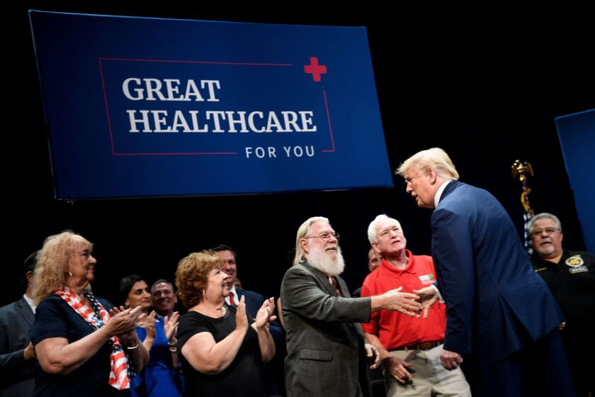 President Trump greets seniors in Florida at his Medicare event, before misleading them about what he'll do to the program.