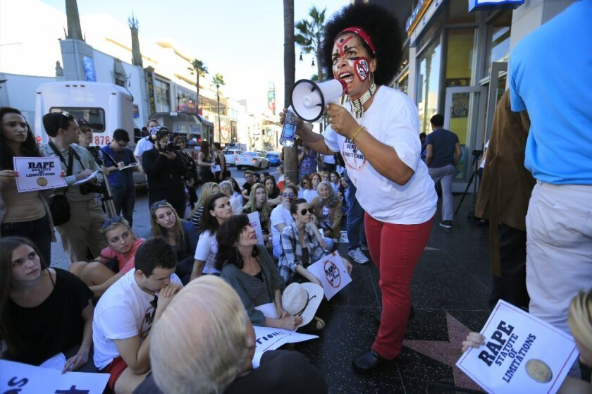 Lili Bernard, who claims Bill Cosby drugged and raped her in the 1990s, speaks at a rally in Hollywood in November in favor of ending California's statute of limitations for sex crime prosecutions.