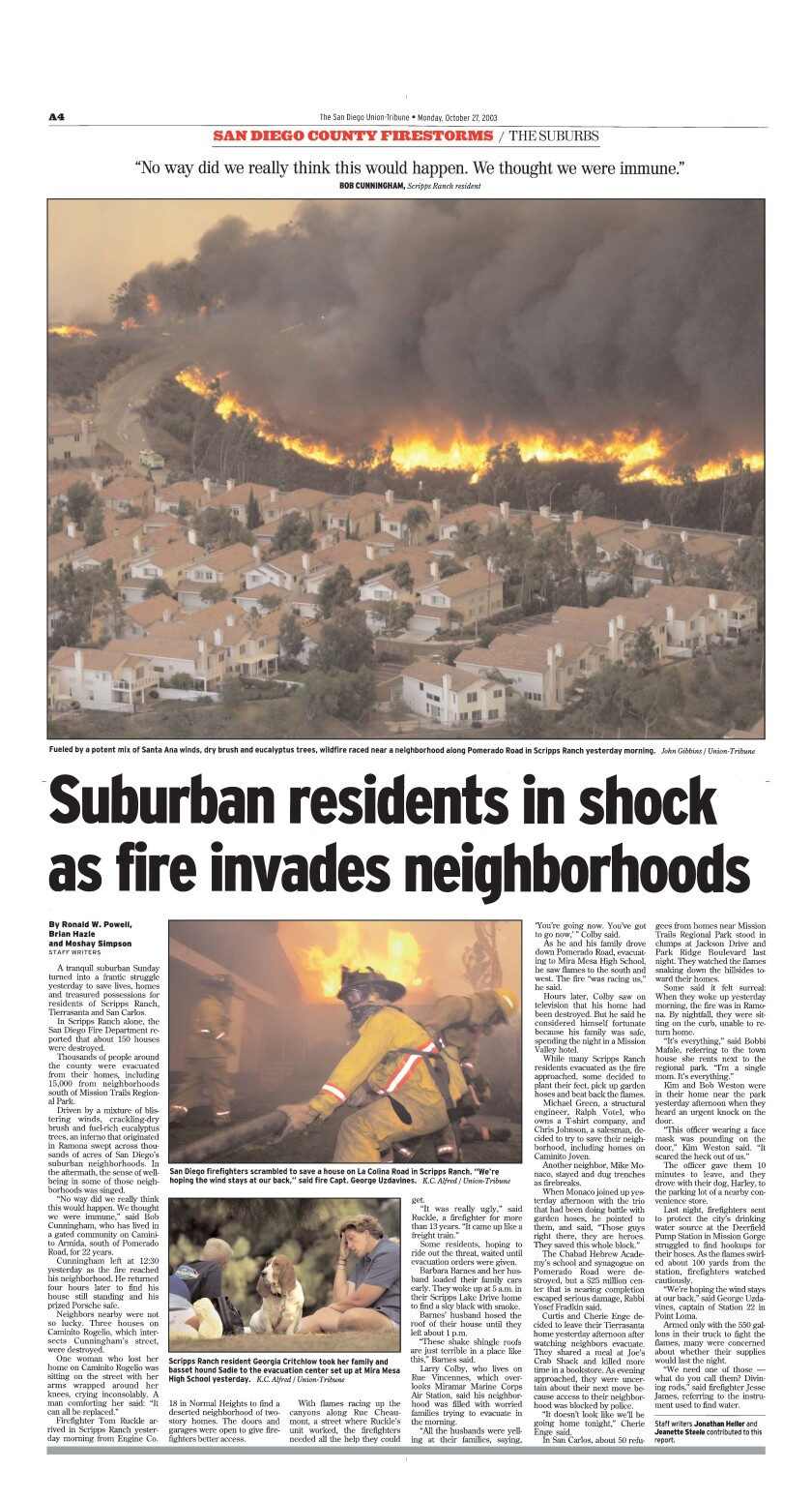 Page A-4 of The San Diego Union-Tribune published October 27, 2003