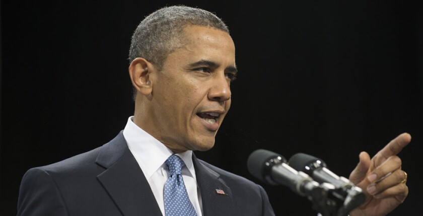 Former U.S. President Barack Obama, shown in 2013, discussed the perils of technology for society at Salesforce.com Inc.'s Dreamforce conference Thursday in San Francisco.