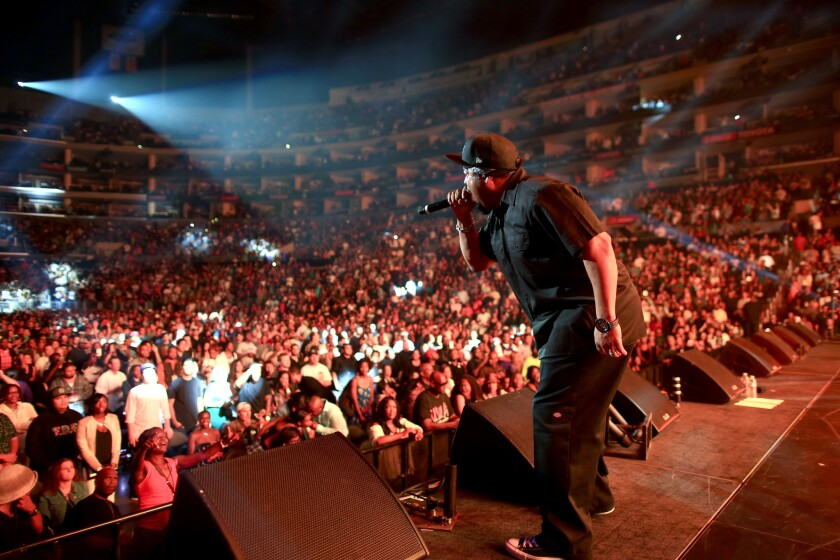 Rapper Ice Cube performs Saturday at Staples Center.
