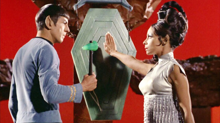 """Leonard Nimoy as Mr. Spock with Arlene Martel as T'Pring in """"Star Trek,"""" which began influencing scientists-to-be 50 years ago."""